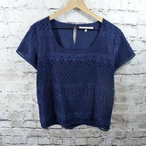 Collective Concepts Navy Blue Lace Overlay Top